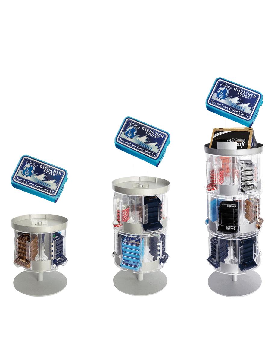 Pöschl Tabak – Drehdisplay für Schnupftabak in drei Größen