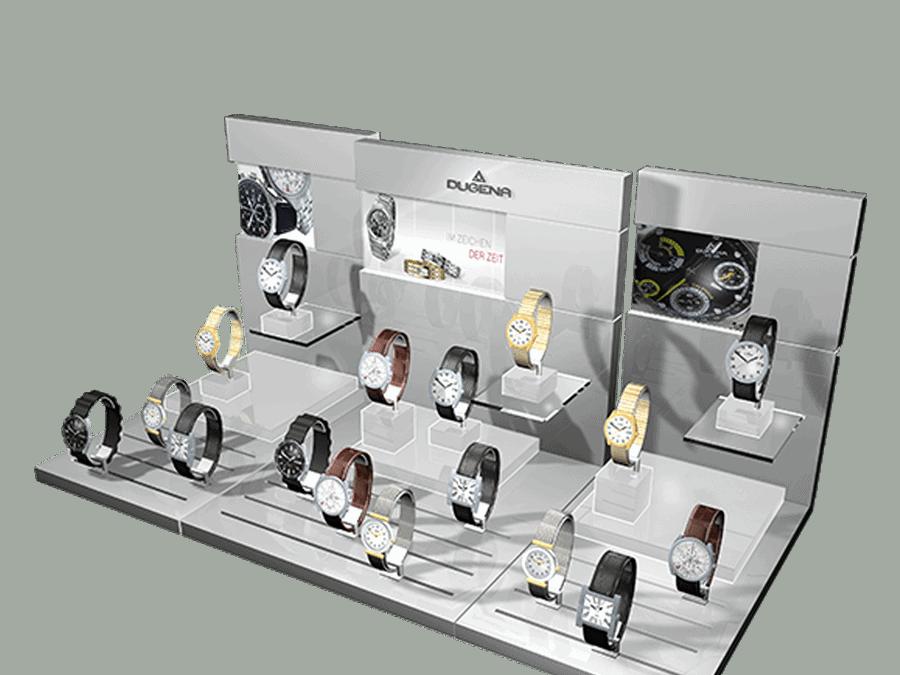 Dugena shop window display for watches