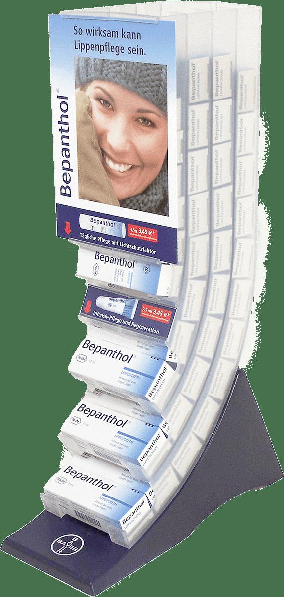 Bayer Thekenaufsteller für Lippenpflegestifte