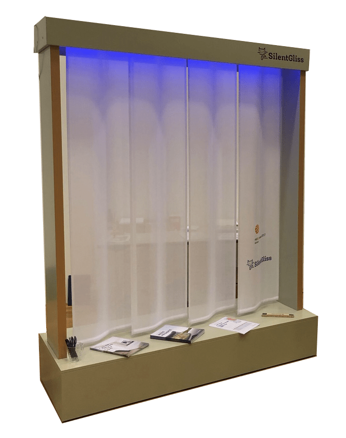 Silent Gliss – Illuminated large presentation for curtain track systems