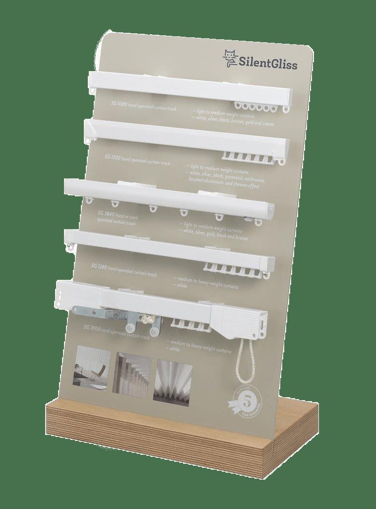 Silent Gliss – Theken- und Tischdisplay für die Musterpräsentation von Vorhangschienensystemen
