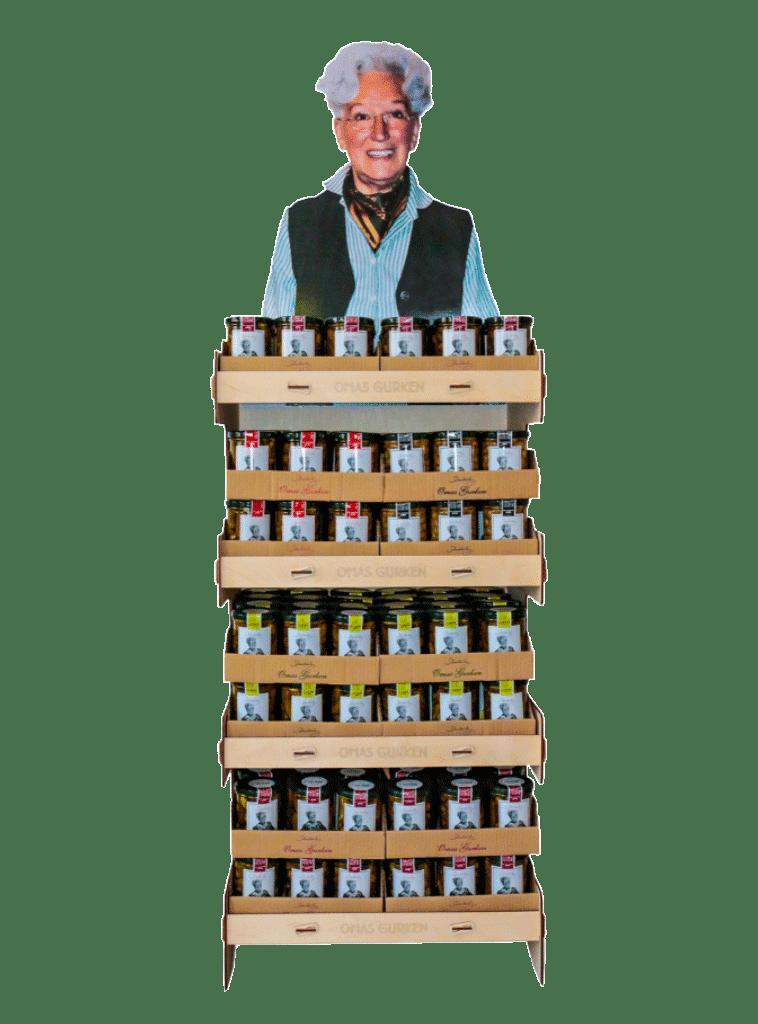Schudeisky Omas Gurken – Bodendisplay für den Lebensmittelhandel