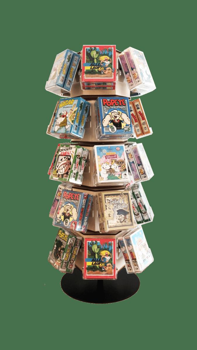 Papus – Drehdisplay für Spielkarten und individuelle Bierdeckel