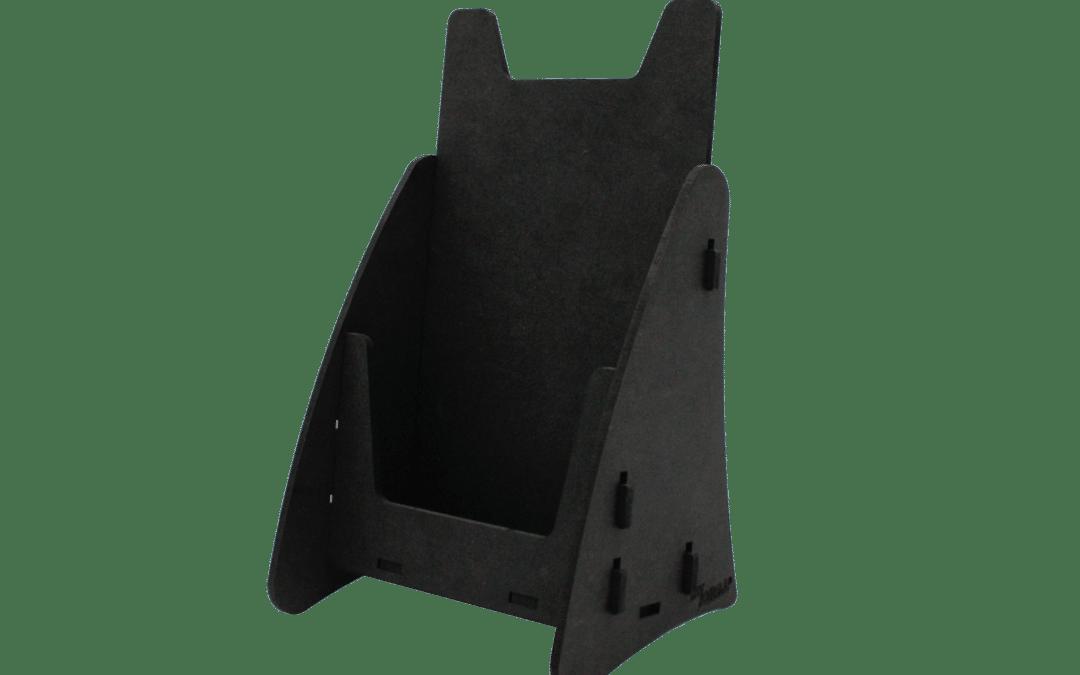Custom-made brochure holder made of black MDF